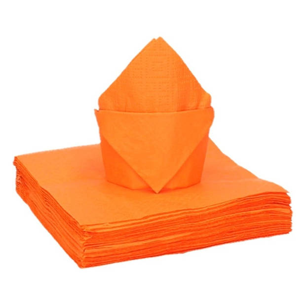 40x oranje kleine cocktail servetten 25 x 25 cm - Oranje tafel feestartikelen