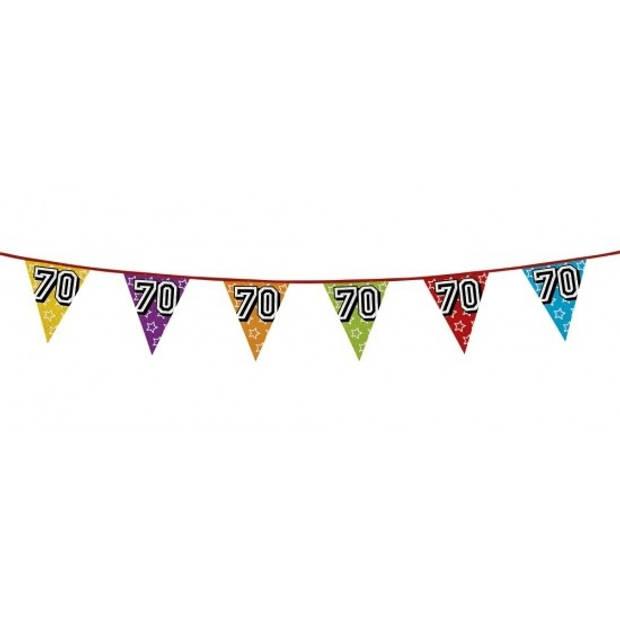 3x 70 jaar vlaggenlijn glitters - verjaardag slingers