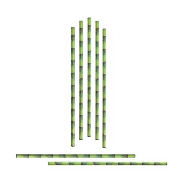 96x Papieren rietjes met bamboe dessin - Duurzame rietjes - Milieuvriendelijk - 100% biologisch