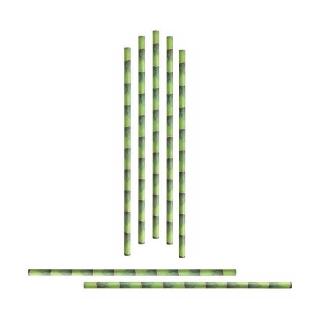 72x Papieren rietjes met bamboe dessin - Duurzame rietjes - Milieuvriendelijk - 100% biologisch