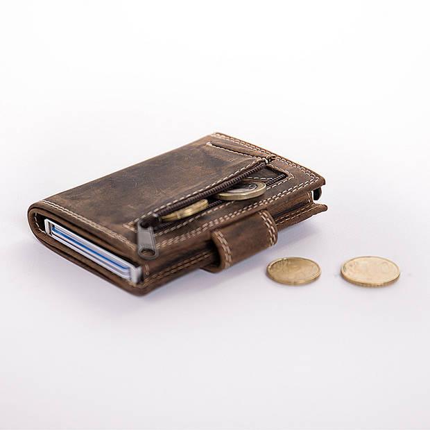 Figuretta Card Protector Hunter Pull-up Leder met rits - Bruin