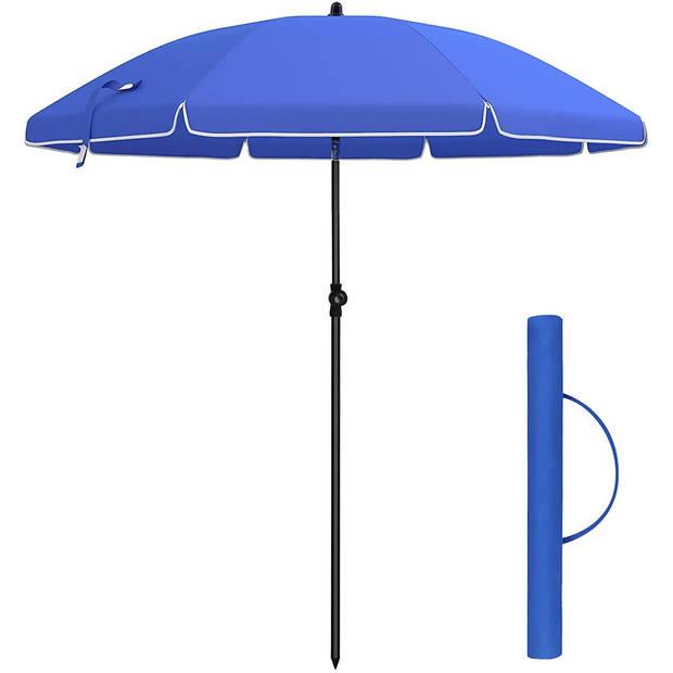 Luxe Zonneparasol Met Knikarm & Draagtas - Strandparasol Parasol Voor Terras/Balkon/Tuin/Strand/Camping/Zwembad - GEEN V
