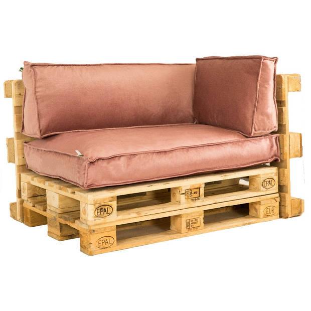 2L Home & Garden Palletkussen Velvet Oud Roze - 60 x 40cm