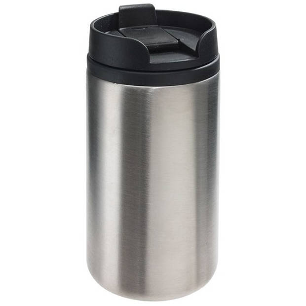 Thermosbeker/warmhoudbeker metallic zilver 290 ml - Thermo koffie/thee isoleerbekers dubbelwandig met schroefdop