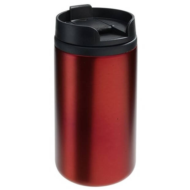 Thermosbeker/warmhoudbeker metallic rood 290 ml - Thermo koffie/thee isoleerbekers dubbelwandig met schroefdop