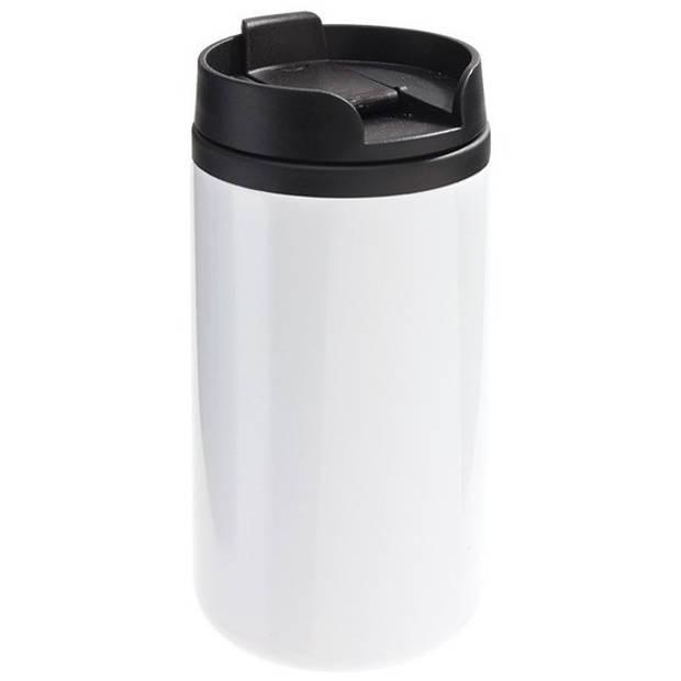 Thermosbeker/warmhoudbeker metallic wit 290 ml - Thermo koffie/thee isoleerbekers dubbelwandig met schroefdop