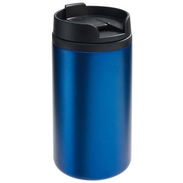 Thermosbeker/warmhoudbeker metallic blauw 290 ml - Thermo koffie/thee isoleerbekers dubbelwandig met schroefdop