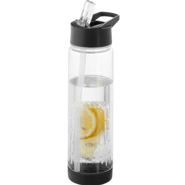 Transparante drinkfles/waterfles met zwart fruit infuser 740 ml - Sportfles - BPA-vrij