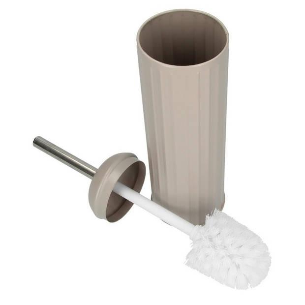 Taupe toiletborstel met kunststof houder 40 cm - Toilet/badkameraccessoires wc-borstel taupe