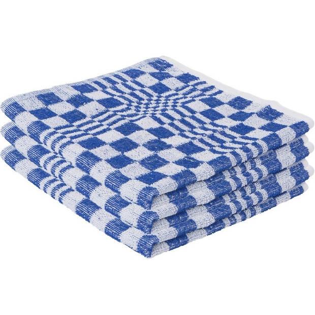 9x Blauwe theedoek / handdoek 65 x 65 cm / 50 x 50 cm - Huishoudtextiel - Afdroogdoek / keukendoek / vaatdoek