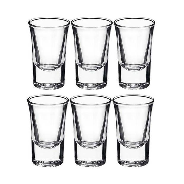 6x shotglazen / borrelglaasjes - 34 cl - glas - rond - shotglas / borrelglas