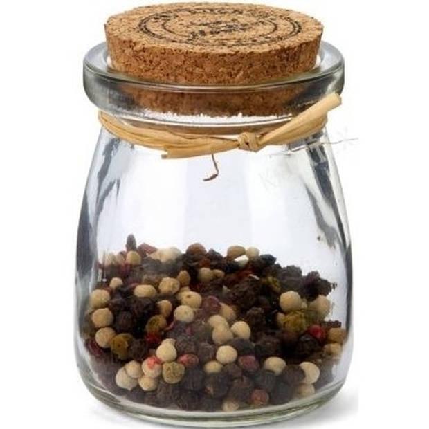 8x Glazen mini bewaarpotjes / voorraadpotjes / kruidenpotjes met kurk - 5 x 7,5 cm