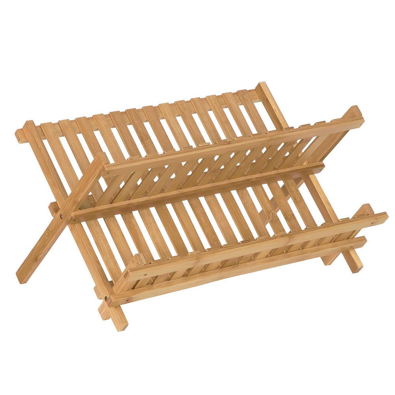 Afdruiprek Van Bamboe Hout - Inklapbaar - Opvouwbaar - Afwasrekje