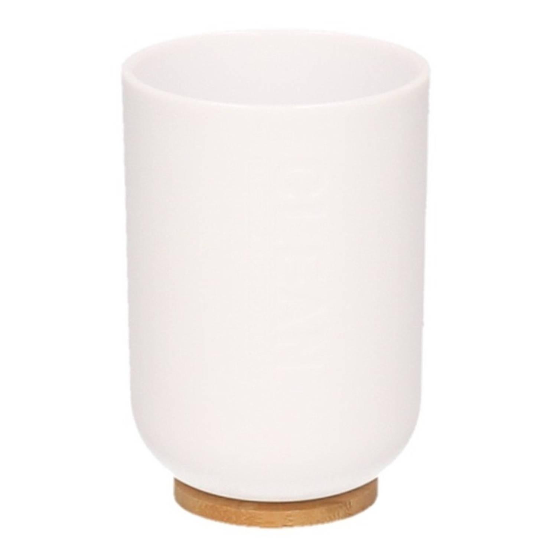 Korting Witte Badkamer Beker Met Bamboe 11 Cm 300 Ml Badkameraccessoires Drinkbeker