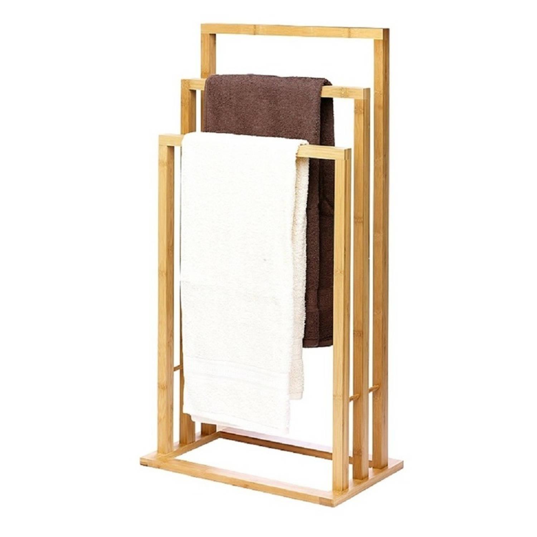 Handdoek Rek Bamboe Hout 42 X 81 5 Cm Handdoek Droogrekken Badlaken Droogrekken Badkamer Accessoires Blokker
