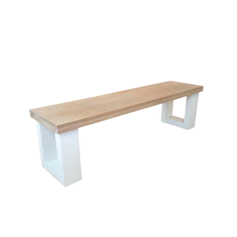 Wood4you - Bankje New England Eikenhout Wit 150lx40hx38d Cm