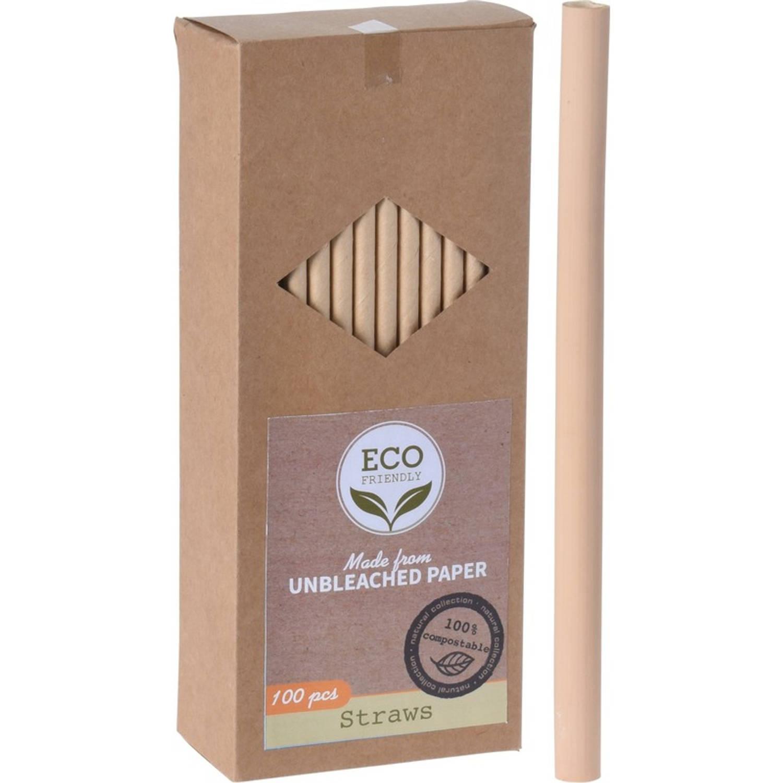 100x Kraft Papier Drinkrietjes 20 Cm - Duurzame. Afbreekbare Rietjes 20 Cm