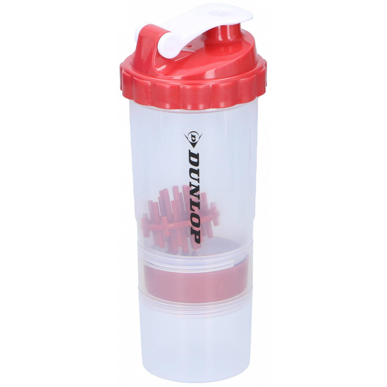 Dunlop Drinkfles Fitness Shaker 550 Ml + 170 Ml Rood
