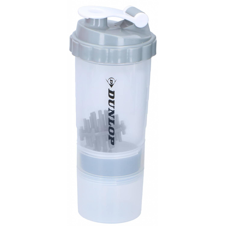 Dunlop Drinkfles Fitness Shaker 550 Ml + 170 Ml Grijs