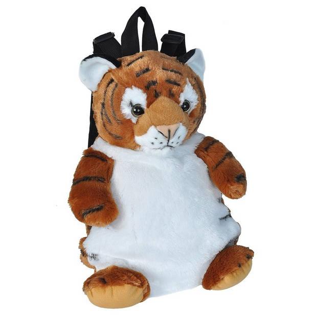 Pluche tijger rugzak/rugtas knuffel 33 cm - Tijgers dieren knuffels - Schooltas/gymtas