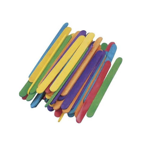 300 gekleurde ijsstokjes knutselhoutjes 5,5 cm - knutselstokjes - hobby houtjes artikelen