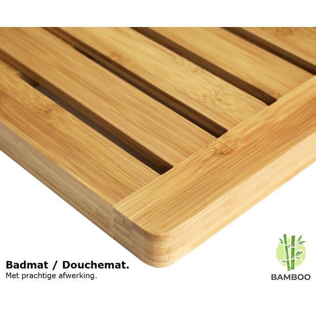 Grote bamboe badmat voor douche of bad - Houten douchemat
