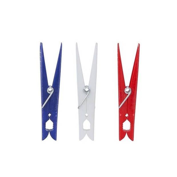 60x Grote wasknijpers / wasspelden kunststof met metalen veer - huishoudelijke producten - knijpers