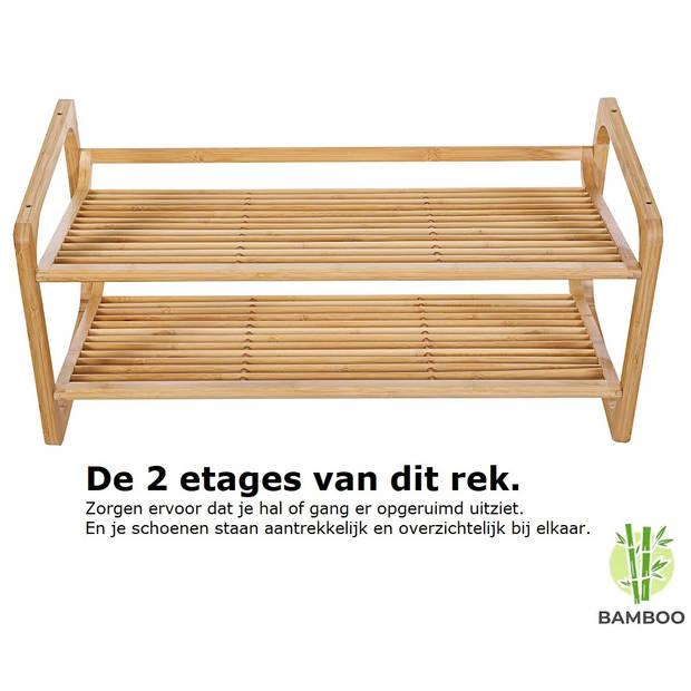 Bamboe schoenenrek met 2 etages - Houten opbergrek voor 6 tot 9 paar
