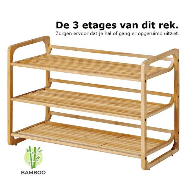 Bamboe schoenenrek met 3 etages - Houten opbergrek voor 9 tot 12 paar