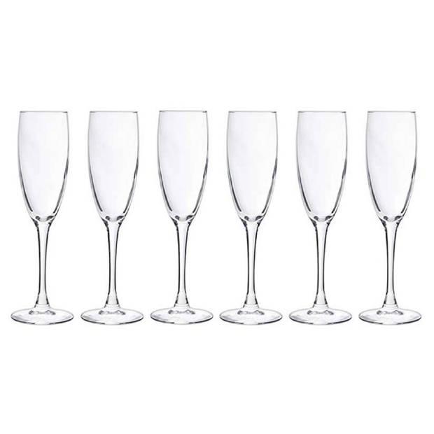6x Champagneglazen/flutes 190 ml - 19 cl - Champagne glazen - Champagne drinken - Champagneglazen van glas