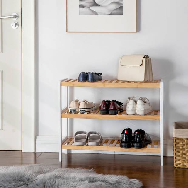 Schoenenrek bamboe hout - Voor 9 paar schoenen - 70 cm breed - Rek