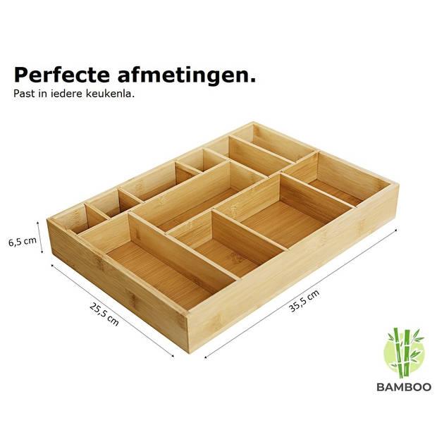Bamboe bestekbak voor keukenla - Bestek organizer hoogwaardig