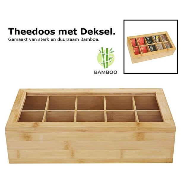 Luxe theedoos met doorzichtig venster van bamboe hout - 10 vaks
