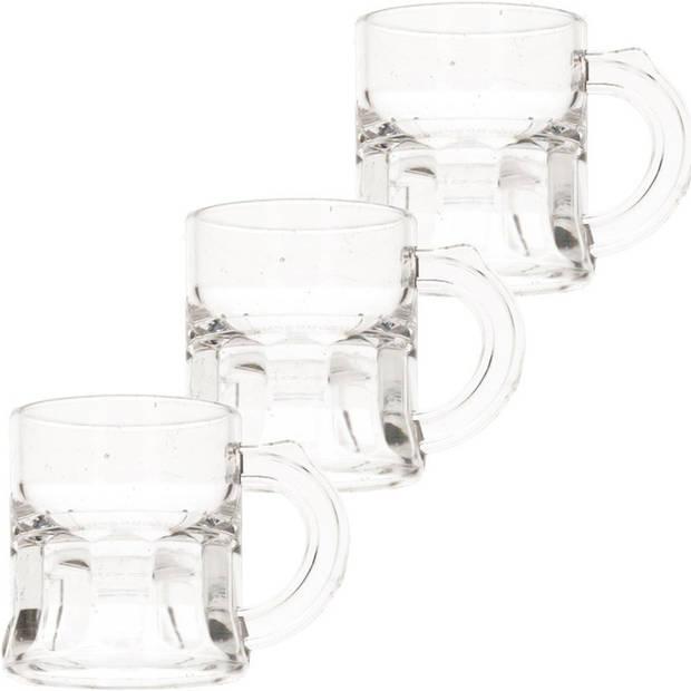 12x Shotglas/shotjes bierpul glaasjes/glazen met handvat 2cl - Oktoberfest/kroeg/bar/cafe shot/shotjes glazen