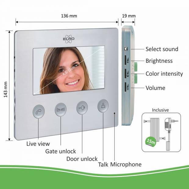 """ELRO DV424W Video Deurintercom - 4,3"""" Kleurenscherm - Camera met Nachtzicht"""