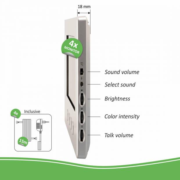 ELRO DV477W4 Video Deur Intercom - 4 Appartementen - Met 4x 7 inch kleurenscherm