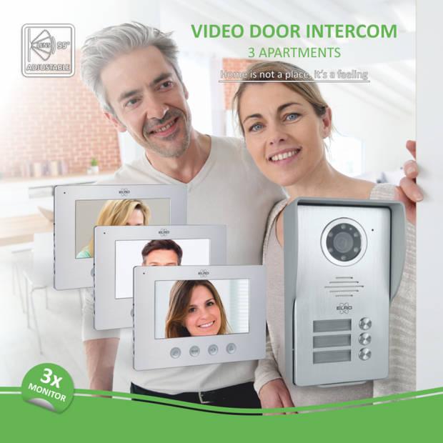 ELRO DV477W3 Video Deur Intercom - 3 Appartementen - Met 3x 7 inch kleurenscherm