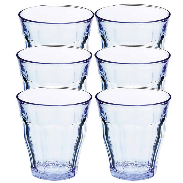6x Drinkglazen/waterglazen Picardie blauw 220 ml - Koffie/thee glazen Picardie 220 ml