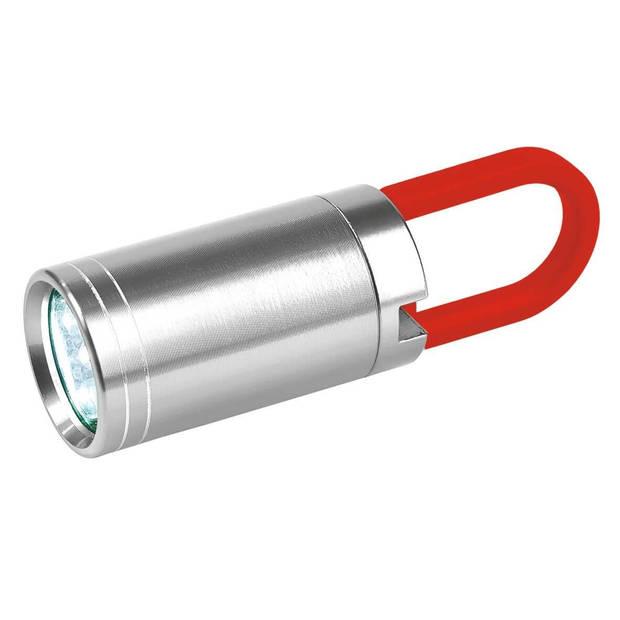 Moses zaklamp Twist & Shine 7,9 cm zilver/rood