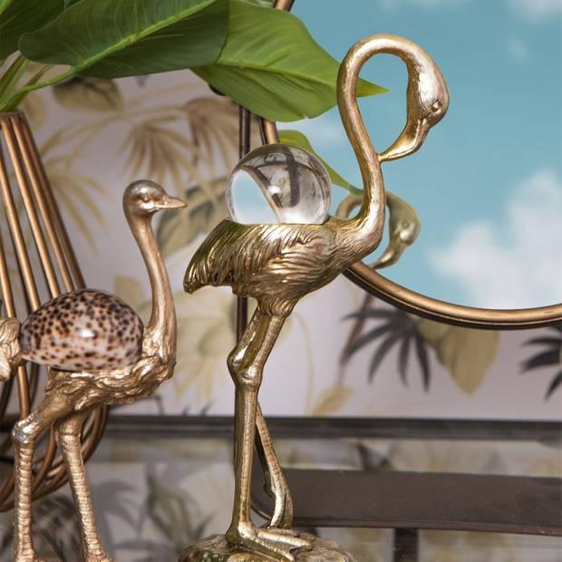Decoratie flamingo - 11*6*25 cm - goudkleurig - kunststof - flamingo - Clayre & Eef - 6PR2487