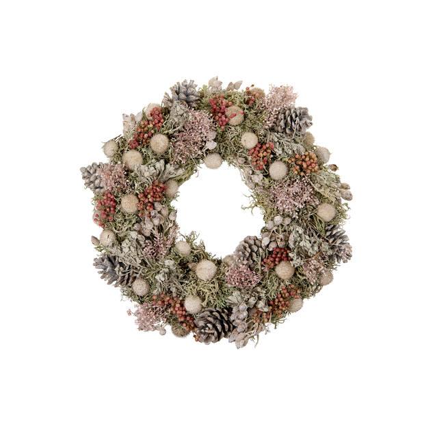 Krans droogbloemen - roze - ?38 cm