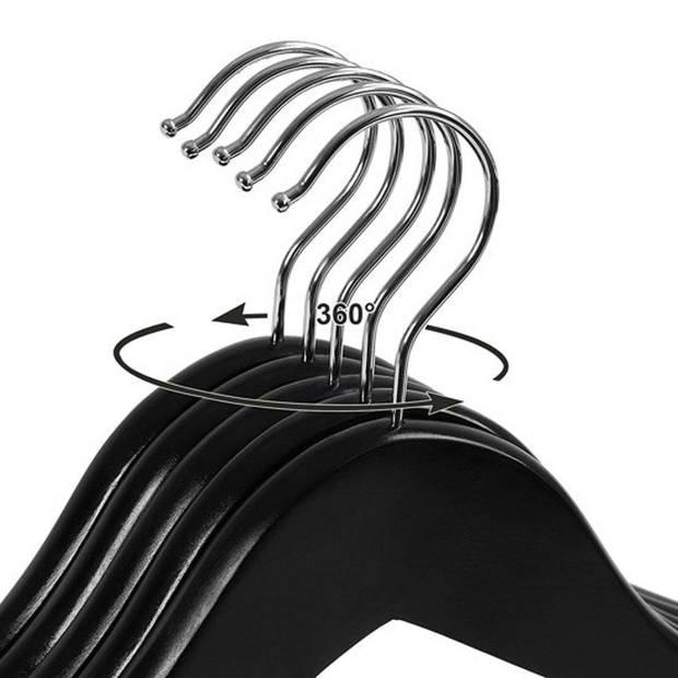 Relaxwonen - kledinghanger 20 stuks - klerenhanger - kleerhanger - broekenstang - hout zwart