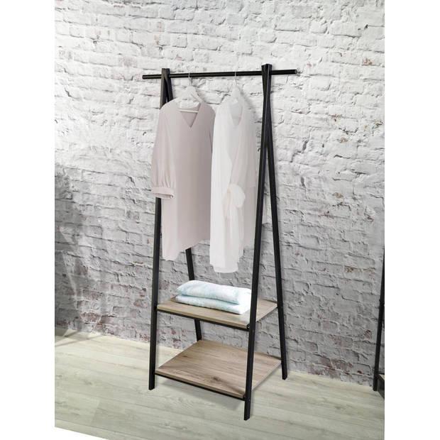 Relaxwonen - kledingrek metaal met hout - industrieel - mat zwart