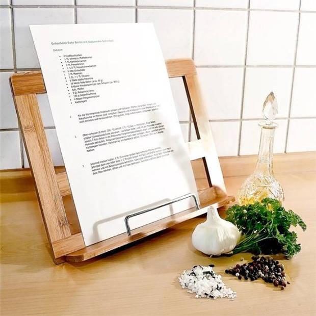 Kookboekstandaard bamboe - boekensteun - boekenstandaard hout - houder