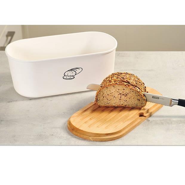 Melamine Ovale 2 in 1 Broodtrommel met Bamboe Snijplank Brood Bewaar