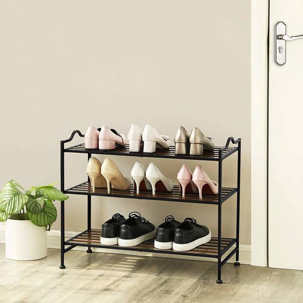 Multifunctioneel 3 Laags Metalen Schoenenrek voor 12 Paar schoenen,