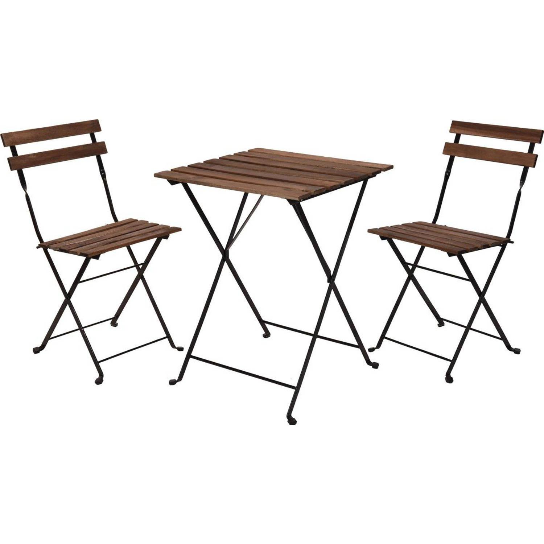 Relaxwonen Bistro set Tuinset Tuintafel en stoelen Zwart Metaal Hout