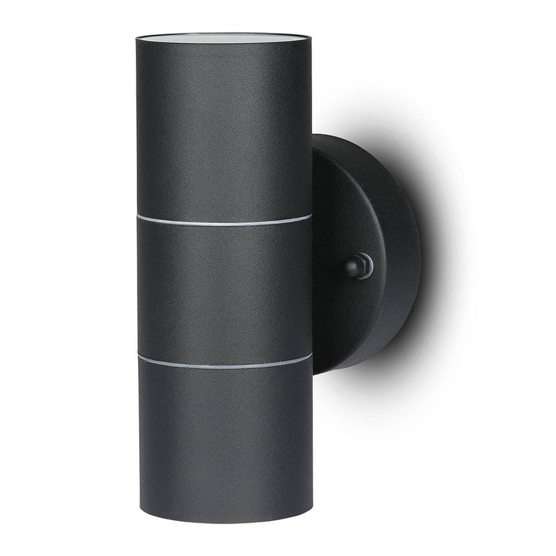 V-tac Vt-7622 Wandlamp Buiten Up/down - Gu10 - Rvs - Zwart - Ip44