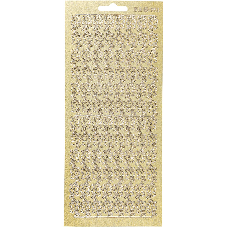 Korting Creotime Foliestickers Rand Bladeren Stickervel Goud Glitter