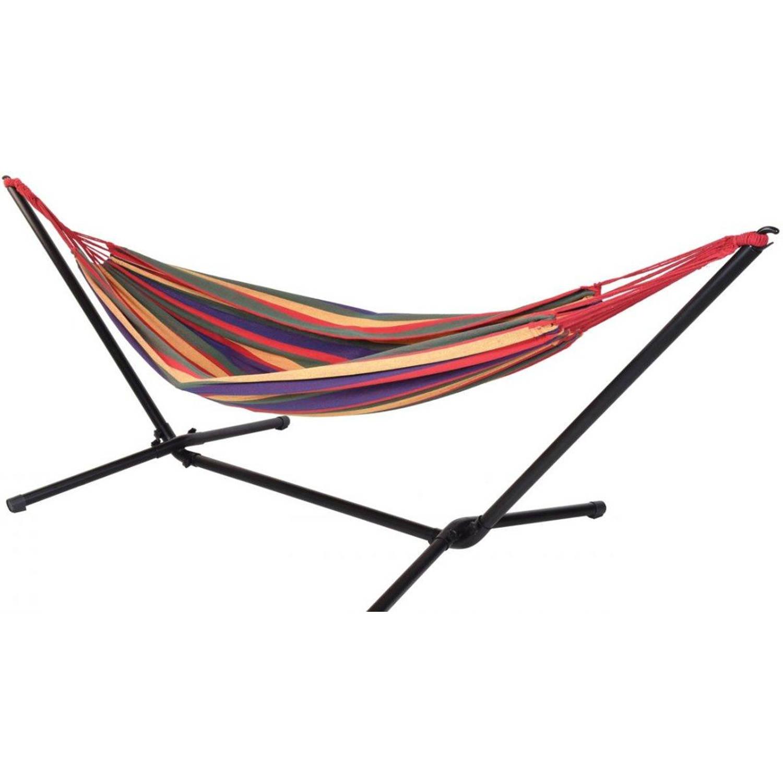 Relaxwonen - Hangmat Met Metalen Standaard - Gekleurde Hangmat - 290x118x93cm